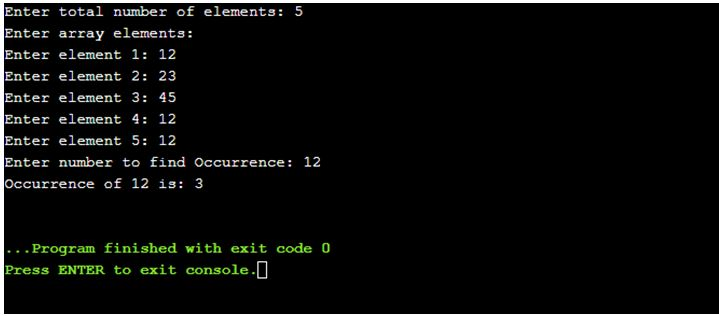 C program to find occurrence of an element in one dimensional array.