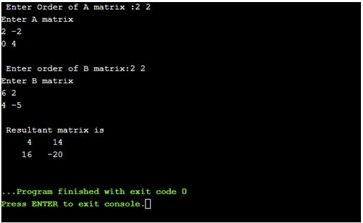 C program to find a product of two matrices